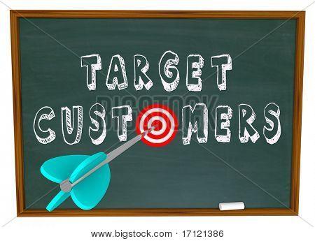 The words Target Customers written on a chalkboard