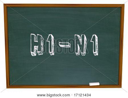 The term H1-N1 written on a chalkboard in white chalk