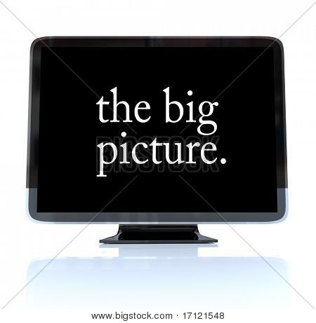 A HDTV television with the words The Big Picture on the screen