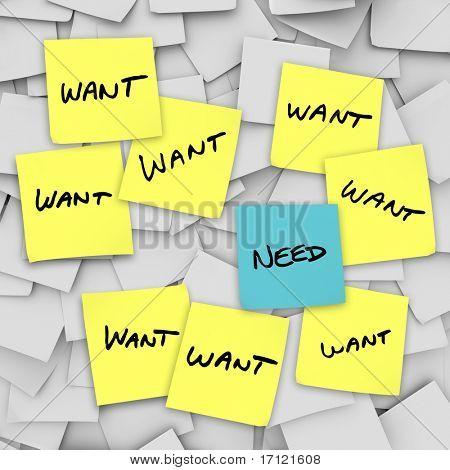 Muchos papelitos con la palabra Want en ellos y uno con la palabra necesidad