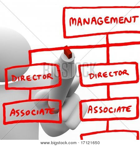 A person draws an org chart on a board with a marker