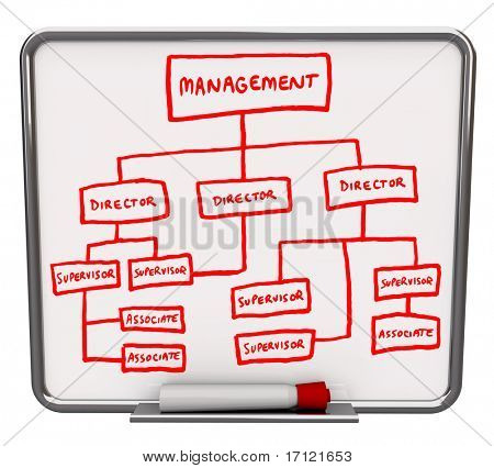 A white dry erase board with an org chart drawn onto it