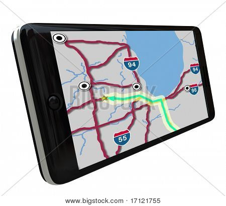 A navigation map on a smart phone GPS app screen