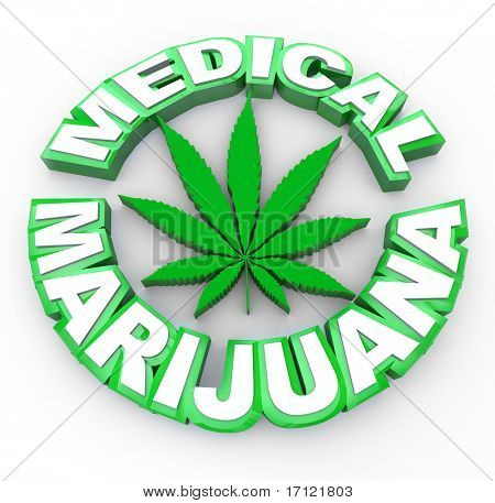 The words medical marijuana surrounding a cannabis leaf icon