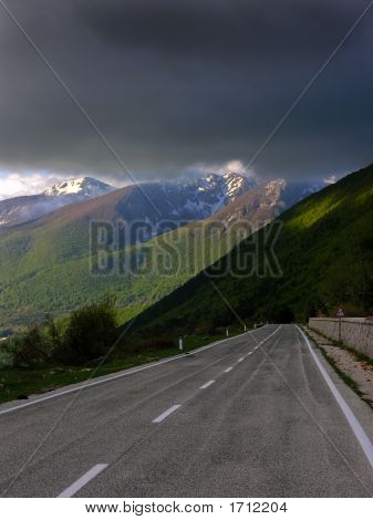 Mountain Road And Clouds
