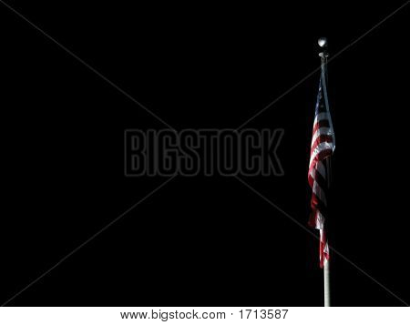 Flag Illuminated At Night