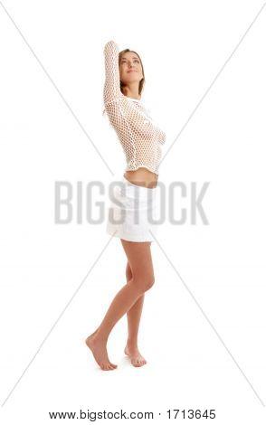 Lovely Girl In Fishnet Shirt And White Skirt