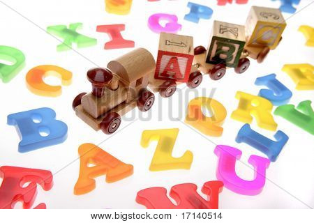 Toy train and alphabet letters
