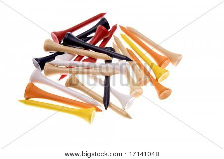 Golf tees isolated over white