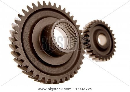 Two gears connecting, isolated over white