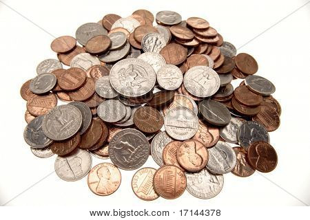 American coins over white background
