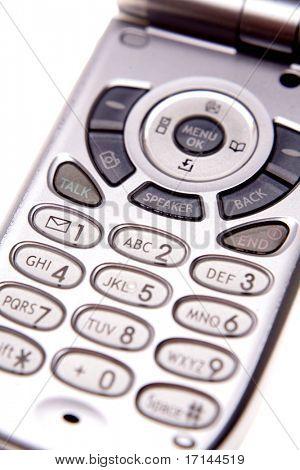 Teclado en teléfono móvil closeup