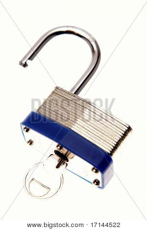 Open padlock and key over white