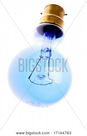 Blue light-bulb isolated over white background