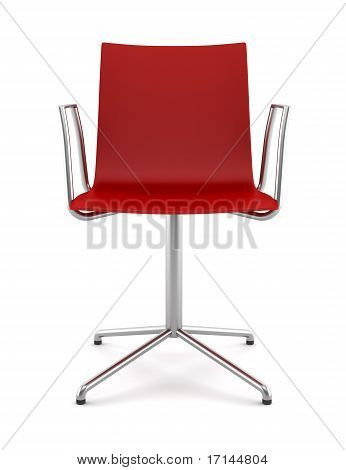 red office chair isolated on white background