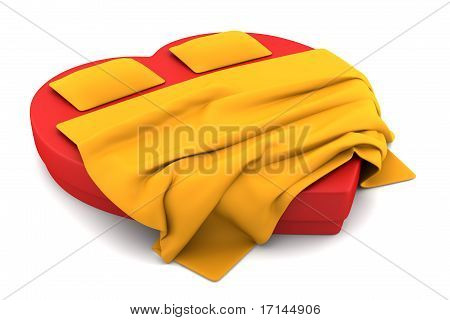 red heart-shaped bed isolated on white background