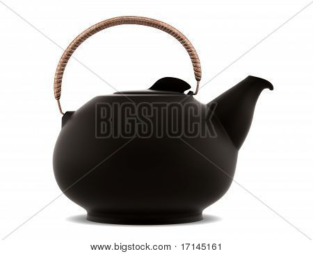 ceramic japanese teapot isolated on white background