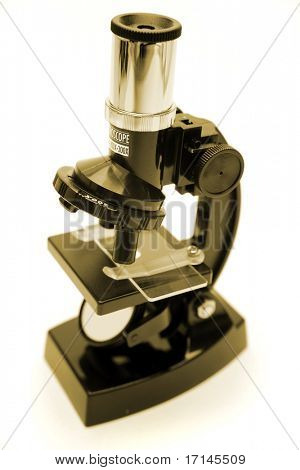 Microscope isolated over white background