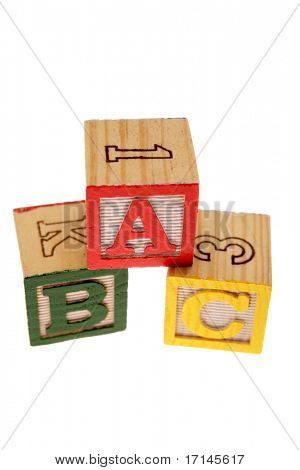 ABC learning blocks isolated over white