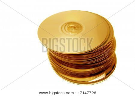 Stack of compact discs on white