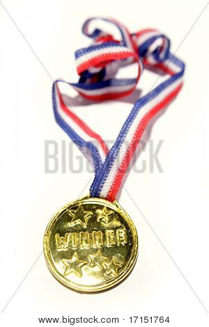 Medal and ribbon isolated over white