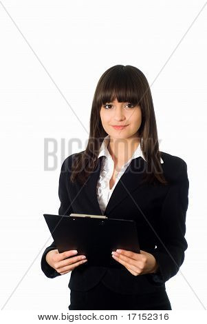 Girl In A Black Business Suit