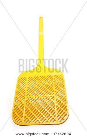 Yellow fly swat isolated over white