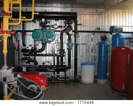Interior Of Gas Boiler-House