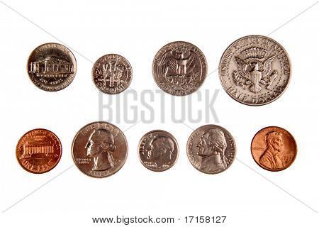 American coins isolated on white