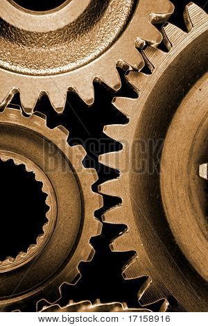 Closeup of cogwheels