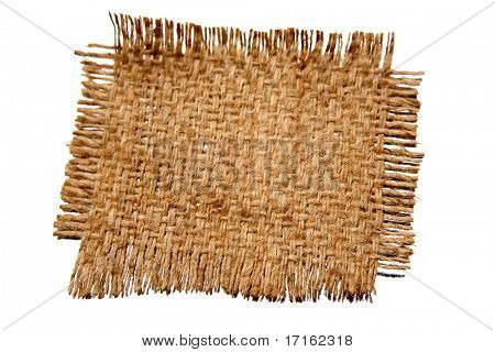 Piece of frayed burlap on white background
