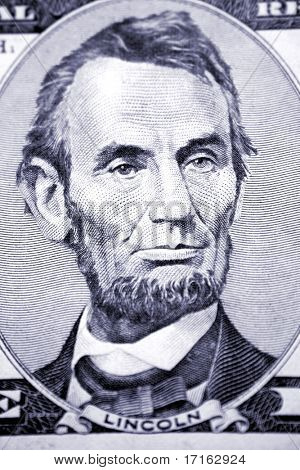 Abraham Lincoln on five dollar banknote
