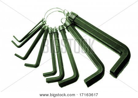 Hex keys isolated over white background