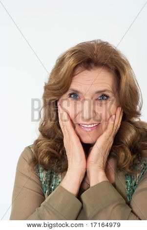 Nice Elderly Woman On A Blue