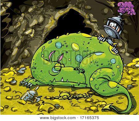 Cartoon Dragon schlafen auf einem Haufen Gold