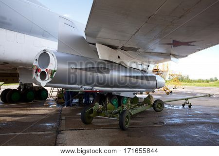 Shaikovka, Kaluga Region, Russia - July 26,2012: Routine busy day at the airbase. Flying of Tu-22M3 (a supersonic, variable-sweep wing, long-range strategic and maritime strike bomber designed by the Tupolev Design Bureau in the Soviet Union). The Raduga