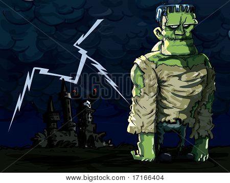 Cartoon Frankenstein Monster In A Night Scene
