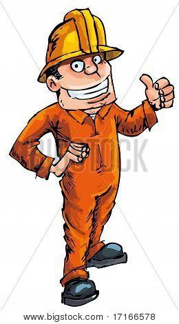 Cartoon Worker In A Hard Hat