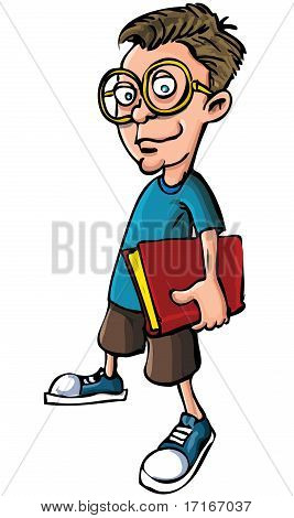 Cartoon Nerd With Glasses And A Book