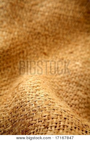 Close-up of natural burlap hessian sacking