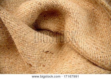 Close-up of natural burlap hessian sacking