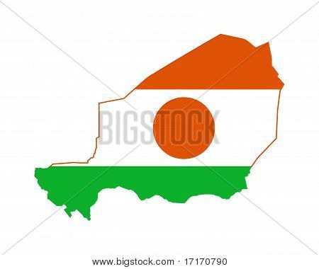 Niger Flag On Map