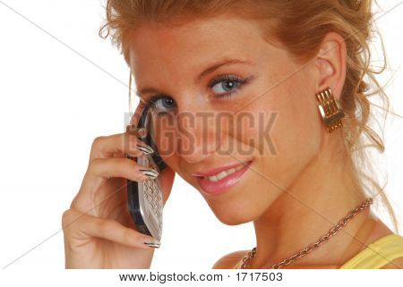 Blond Girl With A Mobile Phone