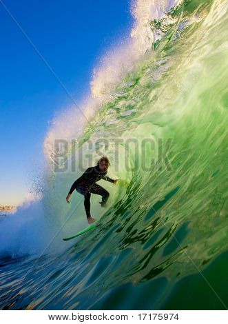 Surfer on Big Wave in Epic Tube