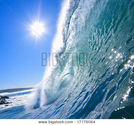 Big Blue Wave with Sunny Sky and Tropical Colors, Epic Surf