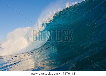Epic Blue Surfing Wave, Tropical Water with Big Tube