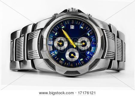 Fancy Wrist Watch on White Background