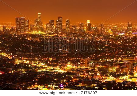Los Angeles at Night, Urban City Lights and Skyline