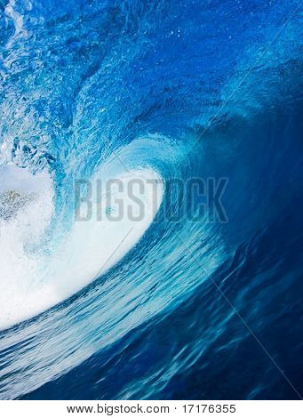 Beautiful Blue Surfing Wave, View in the Tube