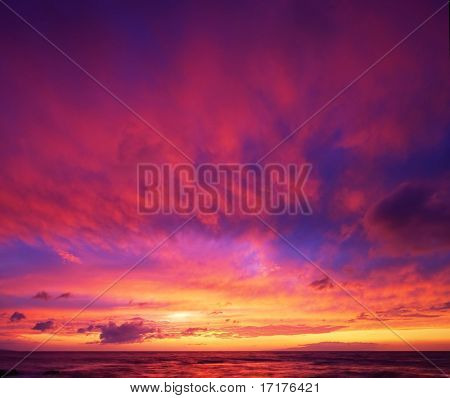 Beautiful Vibrant Sunset Sky, Maui, Hawaii